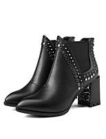 Недорогие -Жен. Ботильоны Наппа Leather Осень Ботинки На толстом каблуке Ботинки Черный