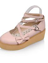 Недорогие -Жен. Комфортная обувь Полиуретан Лето На плокой подошве На плоской подошве Белый / Черный / Розовый
