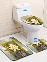Недорогие -3 предмета Деревенский Коврики для ванны 100 г / м2 полиэфирный стреч-трикотаж Цветочный принт нерегулярный Новый дизайн / Cool
