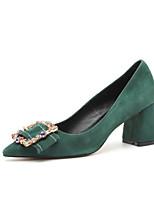 Недорогие -Жен. Балетки Замша Лето Обувь на каблуках На толстом каблуке Черный / Зеленый