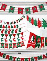 baratos -Bandeiras de Natal Natal Não-Tecelado em forma de V Desenho Animado Decoração de Natal