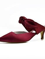 abordables -Femme Chaussures de confort Satin Printemps été Chaussures de mariage Kitten Heel Bout pointu Noeud Bourgogne / Champagne / Ivoire / Mariage / Soirée & Evénement