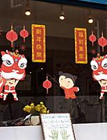 Недорогие -Оконная пленка и наклейки Украшение Шинуазери (китайский стиль) Праздник ПВХ Стикер на окна / Гостинная