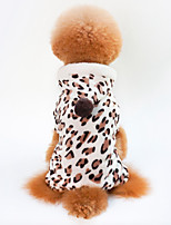 cheap -Dogs / Cats Coat Dog Clothes Leopard Brown 100% Coral Fleece Costume For Pets Unisex Casual / Daily / Warm Ups