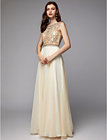 cheap -A-Line Scoop Neck Floor Length Chiffon / Tulle Sparkle & Shine Formal Evening Dress with Beading by TS Couture®