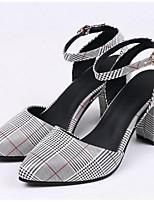 Недорогие -Жен. Комфортная обувь Полиуретан Лето Обувь на каблуках На толстом каблуке Черный / Красный / Зеленый