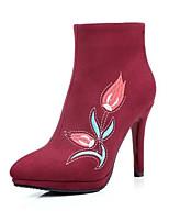 Недорогие -Жен. Fashion Boots Замша Зима Ботинки На шпильке Закрытый мыс Ботинки Черный / Винный