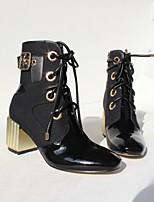 Недорогие -Жен. Комфортная обувь Наппа Leather Наступила зима Ботинки На толстом каблуке Черный