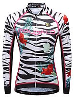 cheap -Malciklo Women's Long Sleeve Cycling Jersey - White / Black Bike Jersey, Quick Dry, Breathable, Reflective Strips Lycra Zebra / YKK Zipper / Italy Imported Ink
