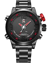 cheap -Men's Sport Watch Dress Watch Quartz 100 m Water Resistant / Water Proof Calendar / date / day Chronograph Stainless Steel Band Analog-Digital Luxury Fashion Black - Black / Red Black / Blue
