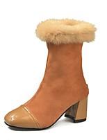 Недорогие -Жен. Fashion Boots Полиуретан Наступила зима Ботинки На толстом каблуке Квадратный носок Сапоги до середины икры Черный / Коричневый