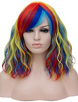 Недорогие -Wig Accessories Кудрявый Средняя часть Искусственные волосы 16 дюймовый Кейс / Модный дизайн Красный / Блондинка Парик Жен. Короткие Без шапочки-основы Радужный