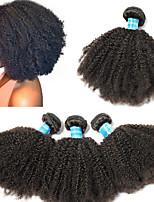 Недорогие -4 Связки Бразильские волосы / Перуанские волосы Афро Не подвергавшиеся окрашиванию / Remy Человека ткет Волосы 8-26 дюймовый Нейтральный Ткет человеческих волос Машинное плетение