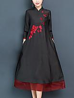 preiswerte -Damen Street Schick / Elegant Etuikleid / Swing Kleid - Druck, Blumen Midi