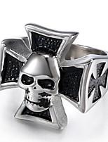 billiga -Herr Vintage Stil Skulptur Ring - Rostfri Kors, Döskalle Statement, Stilig, Vintage 7 / 8 / 9 / 10 / 11 Silver Till Halloween Street