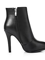 Недорогие -Жен. Fashion Boots Наппа Leather Осень Ботинки На шпильке Закрытый мыс Ботинки Белый / Черный