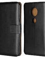Недорогие -Кейс для Назначение Motorola Moto G6 Plus / G5 Кошелек / Бумажник для карт / со стендом Чехол Однотонный Твердый Настоящая кожа для Moto Z2 play / Moto X4 / MOTO G6