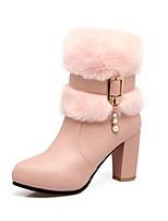 Недорогие -Жен. Fashion Boots Полиуретан Осень Ботинки На толстом каблуке Сапоги до середины икры Розовый