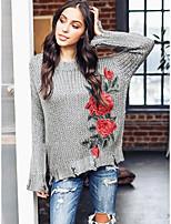 Недорогие -Жен. Длинный рукав Пуловер - Цветочный принт / Осень / Сексуальные платья