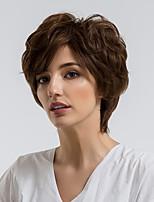 cheap -Human Hair Capless Wigs Human Hair Curly Pixie Cut Natural Hairline Dark Brown Capless Wig Women's Daily Wear