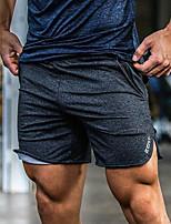 baratos -Homens Bolsos Shorts de Corrida - Preto, Cinzento Escuro, Cinzento Esportes Côr Sólida Calças Fitness, Ginásio, Exercite-se Roupas Esportivas Leve, Respirável, Macio Com Stretch Solto