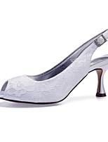 baratos -Mulheres Sapatos Confortáveis Renda / Cetim Primavera Verão Sapatos De Casamento Salto Carretel Peep Toe Gliter com Brilho Prateado / Champanhe / Ivory / Festas & Noite