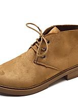 Недорогие -Жен. Армейские ботинки Полиуретан Осень На каждый день Ботинки На низком каблуке Ботинки Черный / Розовый / Хаки