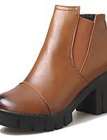 Недорогие -Жен. Ботильоны Полиуретан Осень На каждый день Ботинки На толстом каблуке Ботинки Черный / Серый / Коричневый
