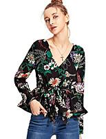 baratos -blusa feminina - floral / cor sólida em volta do pescoço