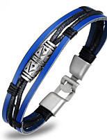 Недорогие -Муж. Плетение Кожаные браслеты Loom браслет - Титановая сталь Уникальный дизайн, модный Браслеты Синий Назначение Повседневные Для улицы