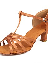 baratos -Mulheres / Para Meninas Sapatos de Dança Latina Cetim Sandália / Salto Presilha Salto Cubano Personalizável Sapatos de Dança Castanho Escuro