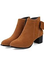 Недорогие -Жен. Fashion Boots Замша Осень Ботинки На толстом каблуке Желтый / Коричневый / Военно-зеленный