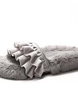 Недорогие -Жен. Slingback Полиуретан Зима Тапочки и Шлепанцы На плоской подошве Черный / Бежевый / Серый