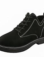 Недорогие -Жен. Армейские ботинки Полиуретан Осень Ботинки Блочная пятка Круглый носок Черный / Темно-русый