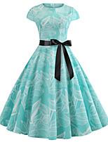 Недорогие -Жен. Винтаж / Элегантный стиль С летящей юбкой Платье - Цветочный принт До колена
