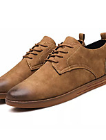 Недорогие -Муж. Комфортная обувь Полиуретан Осень На каждый день Туфли на шнуровке Нескользкий Черный / Верблюжий