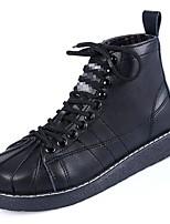 Недорогие -Жен. Армейские ботинки Полиуретан Осень Ботинки На плоской подошве Круглый носок Черный / Желтый / Розовый