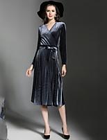 Недорогие -Жен. Классический / Элегантный стиль Оболочка Платье Шнуровка Средней длины