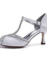 baratos -Mulheres Sapatos Confortáveis Renda / Cetim Primavera Verão Sapatos De Casamento Salto Carretel Peep Toe Gliter com Brilho Branco / Ivory / Festas & Noite