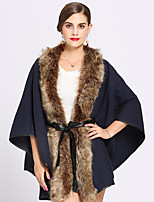 cheap -3/4 Length Sleeve Faux Fur / Acrylic Wedding / Party / Evening Women's Wrap With Lace-up / Split Joint Capes