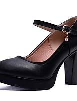 abordables -Femme Escarpins Polyuréthane Automne Chaussures à Talons Talon Bottier Bout rond Boucle Noir / Soirée & Evénement / Soirée & Evénement