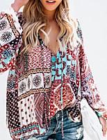 baratos -Mulheres Blusa - Para Noite / Praia Tribal Decote em V Profundo Solto