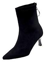 Недорогие -Жен. Fashion Boots Замша Осень На каждый день Ботинки На шпильке Сапоги до середины икры Черный