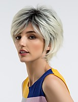 cheap -Synthetic Wig Straight Ombre Pixie Cut Synthetic Hair 10 inch Color Gradient / Natural Hairline Ombre Wig Women's Mid Length Capless Black / White / Yes