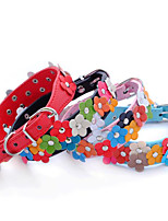 cheap -Dogs / Cats Collar Portable / Adjustable / Retractable / Folding Flower / Floral PU Leather / Polyurethane Leather Blue