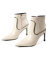 Недорогие -Жен. Fashion Boots Наппа Leather Осень Ботинки На шпильке Сапоги до середины икры Черный / Бежевый