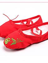 abordables -Femme Chaussures de Ballet Toile Basket Talon Plat Chaussures de danse Noir / Rouge