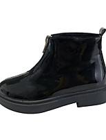 Недорогие -Жен. Fashion Boots Полиуретан Осень Минимализм Ботинки На низком каблуке Круглый носок Ботинки Черный