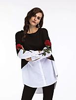 Недорогие -Жен. Блуза Рубашечный воротник Контрастных цветов