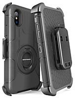 Недорогие -Кейс для Назначение Apple iPhone X / iPhone XS Защита от удара / Защита от пыли / со стендом Чехол Однотонный / броня Твердый ПК / силикагель для iPhone XS / iPhone X